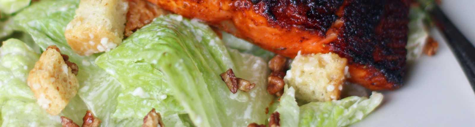 Blackened Salmon on Caesar by Celeste Stubner