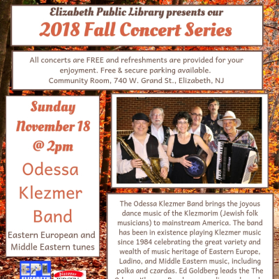 2018 Fall Concert Series--Odessa Klezmer Band--Eastern European and Middle Eastern Tunes