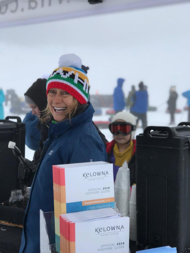 Photo of Tourism Kelowna volunteer at Big White on January 6, 2018