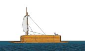 "This is a representation of ""Cooper's Ark"" being sailed across Lake Ontario to Sackets Harbor in 1813. Drawing, based on original plans, by Dennis McCarthy of Cape Vincent. (Drawing courtesy of Richard Palmer.)"