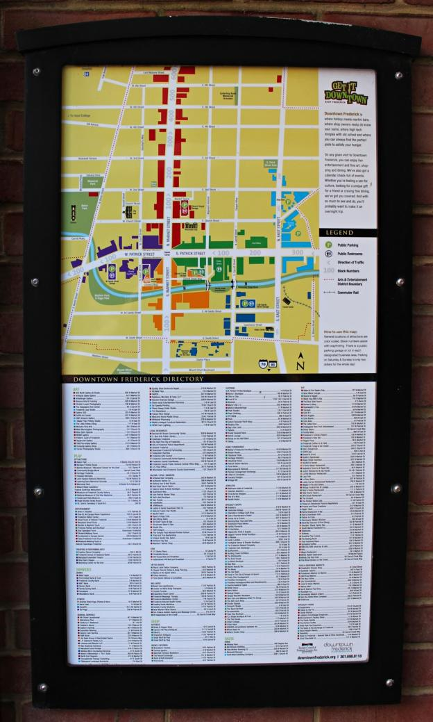 Map of Downtown Frederick at the garage