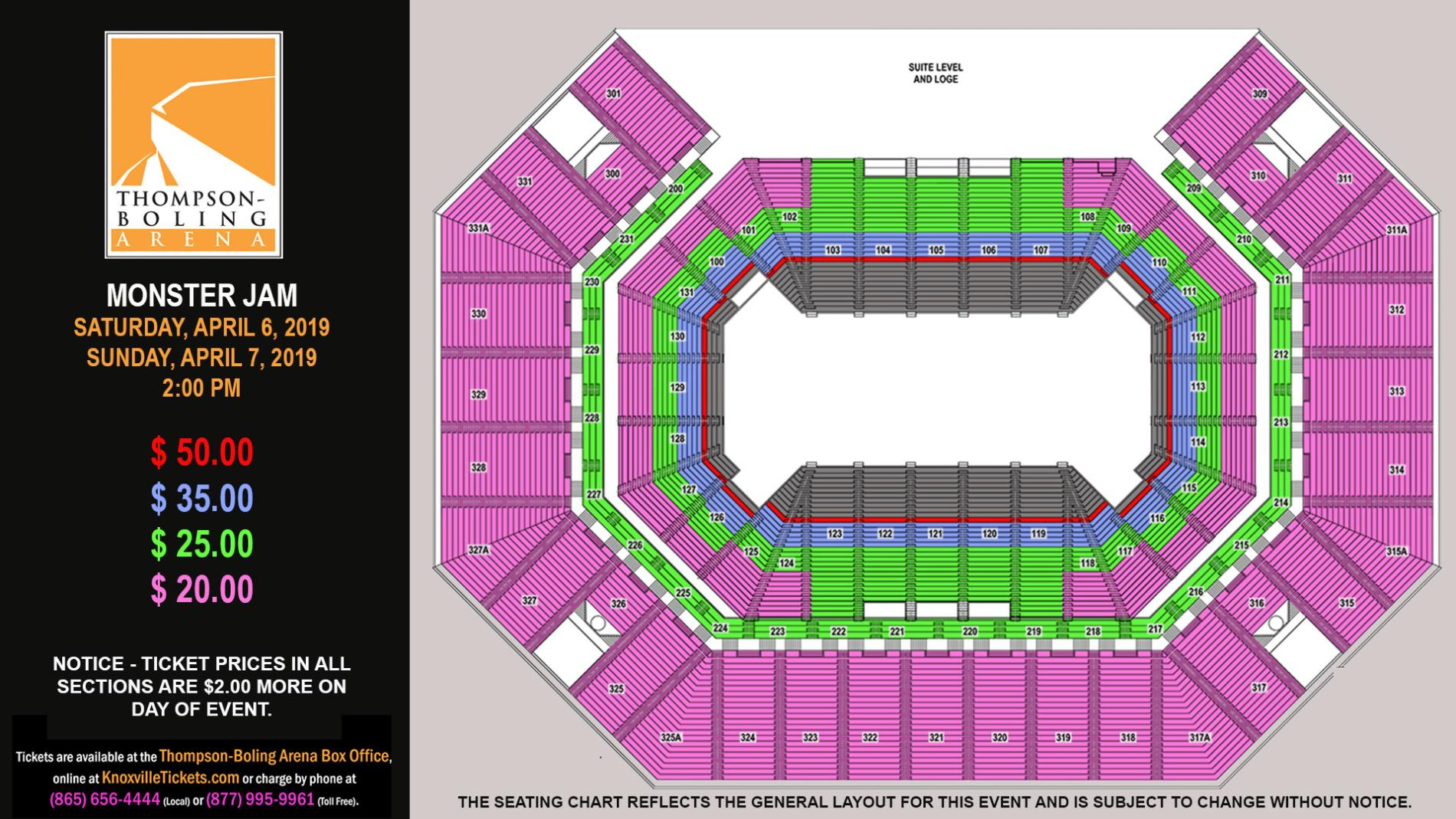 Monster Jam 2019 Seating Map