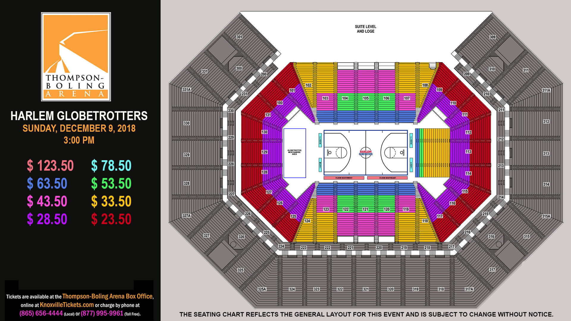 Harlem Globetrotters 2018 Seating Map
