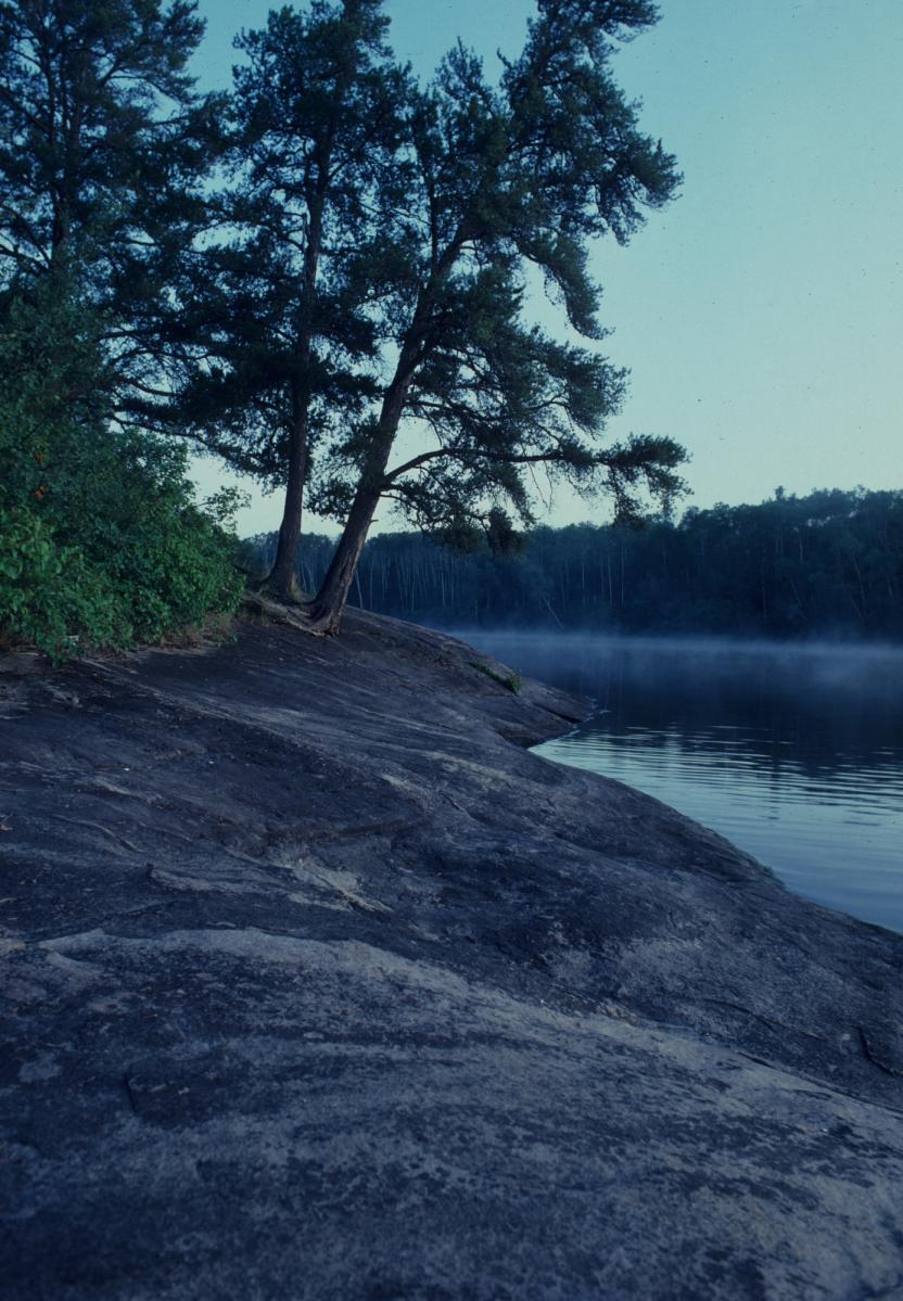 Mist rising off the lake at Nopiming Provincial Park
