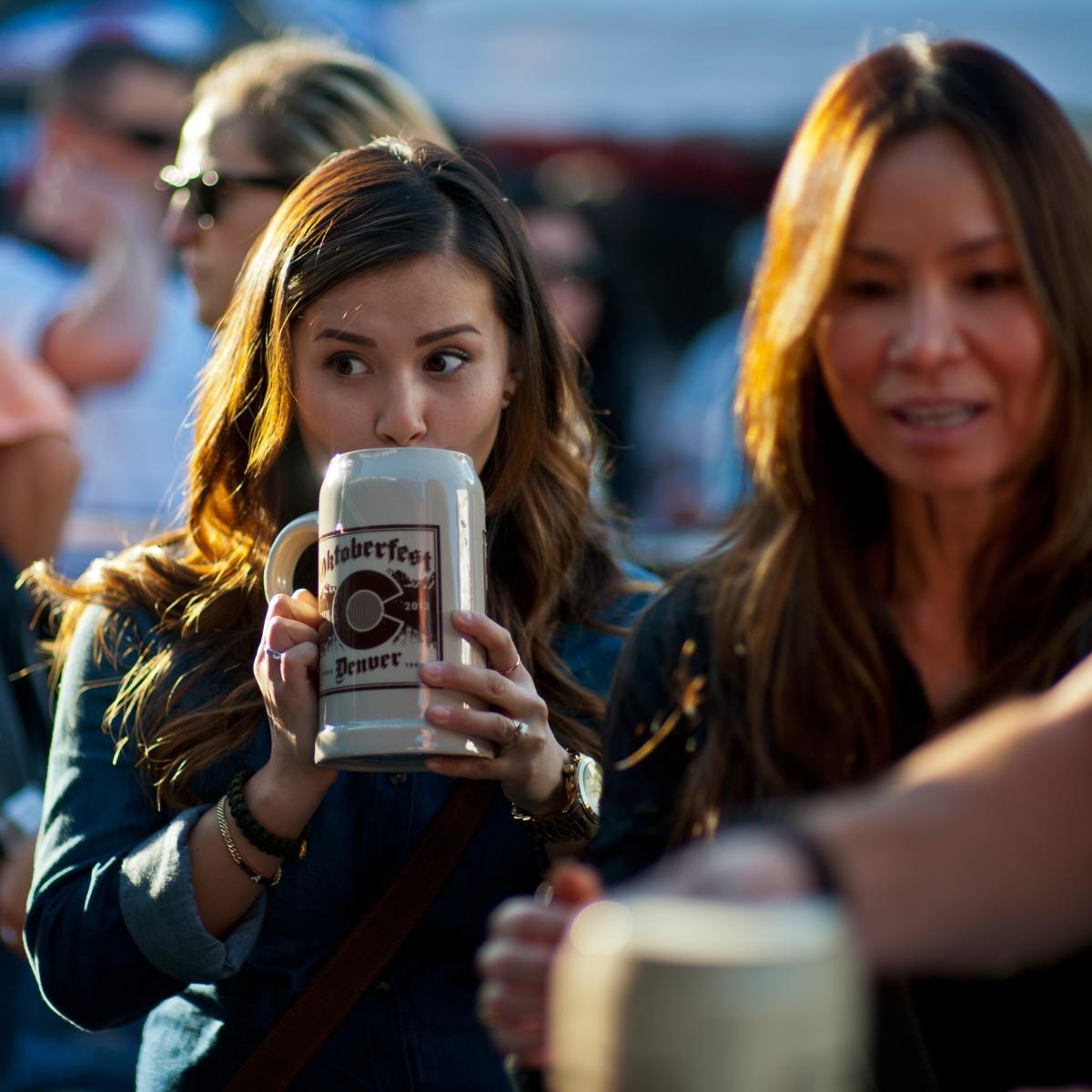 Oktoberfest goers enjoying beers