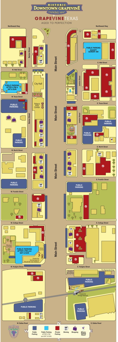 Downtown Grapevine Parking Map