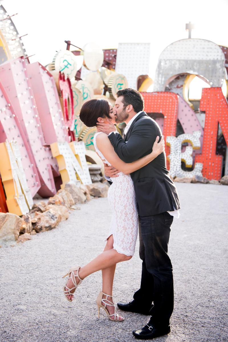 vintage weddings, neon museum