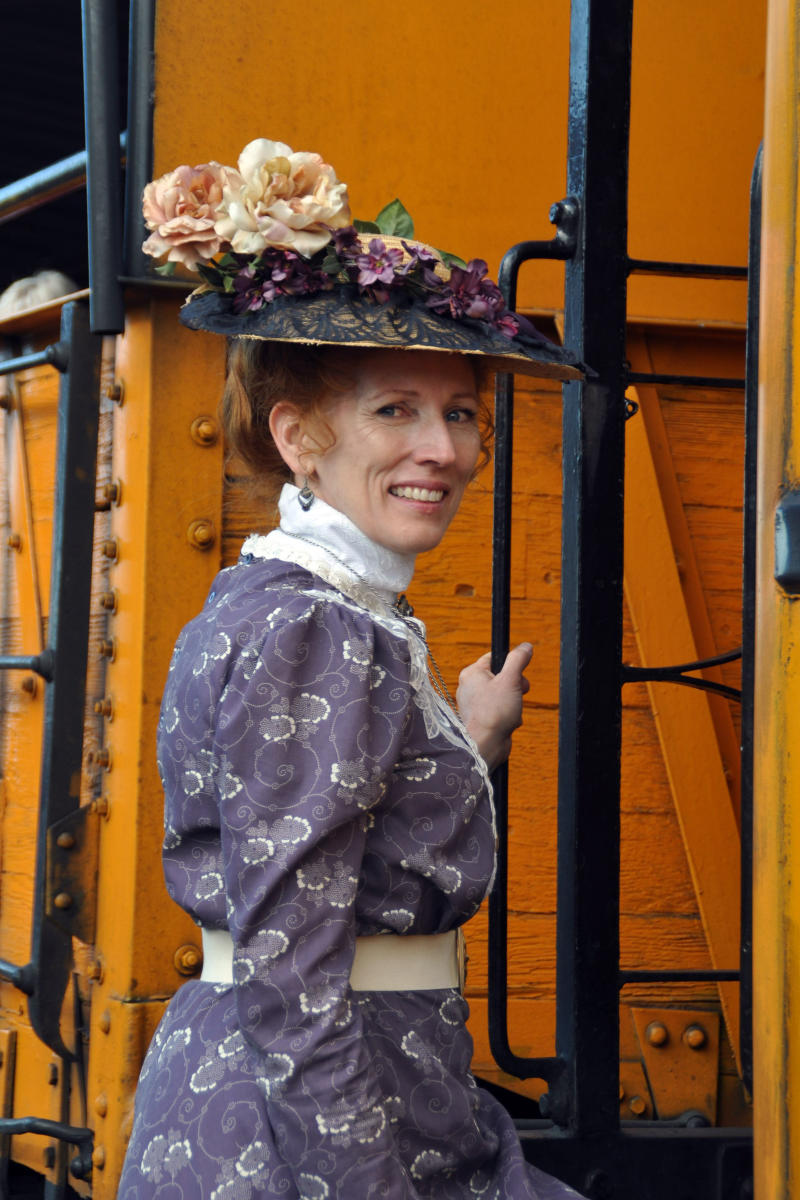 Historical reenactor on Durango & Silverton Narrow Gauge Railroad