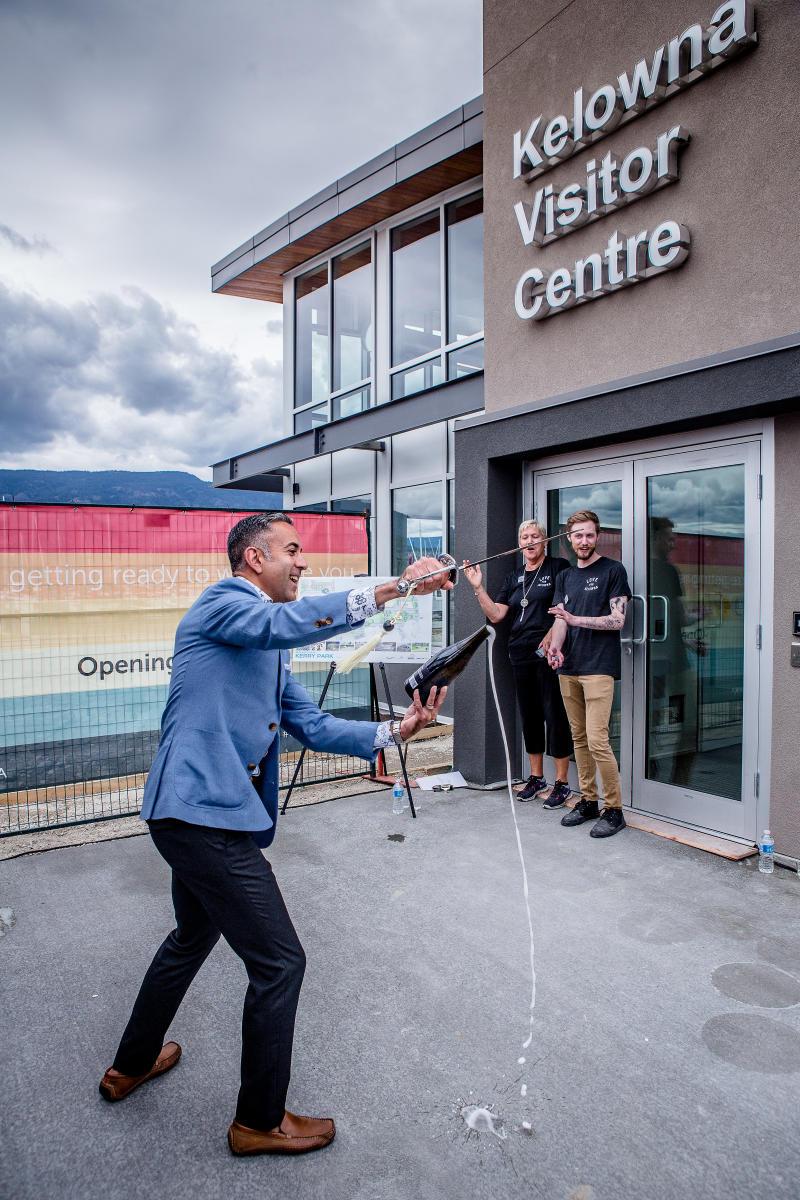Mayor Basran at new Kelowna Visitor Centre opening