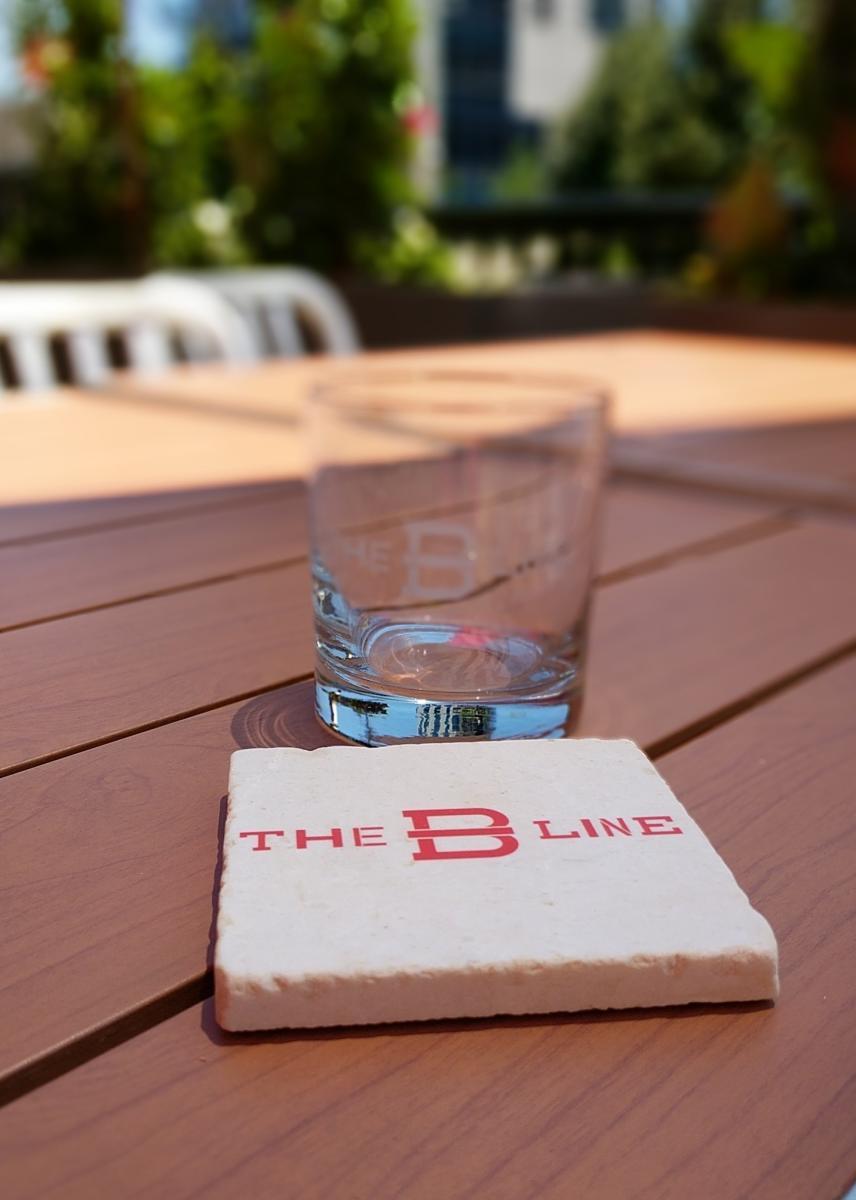 b-line coaster and glass