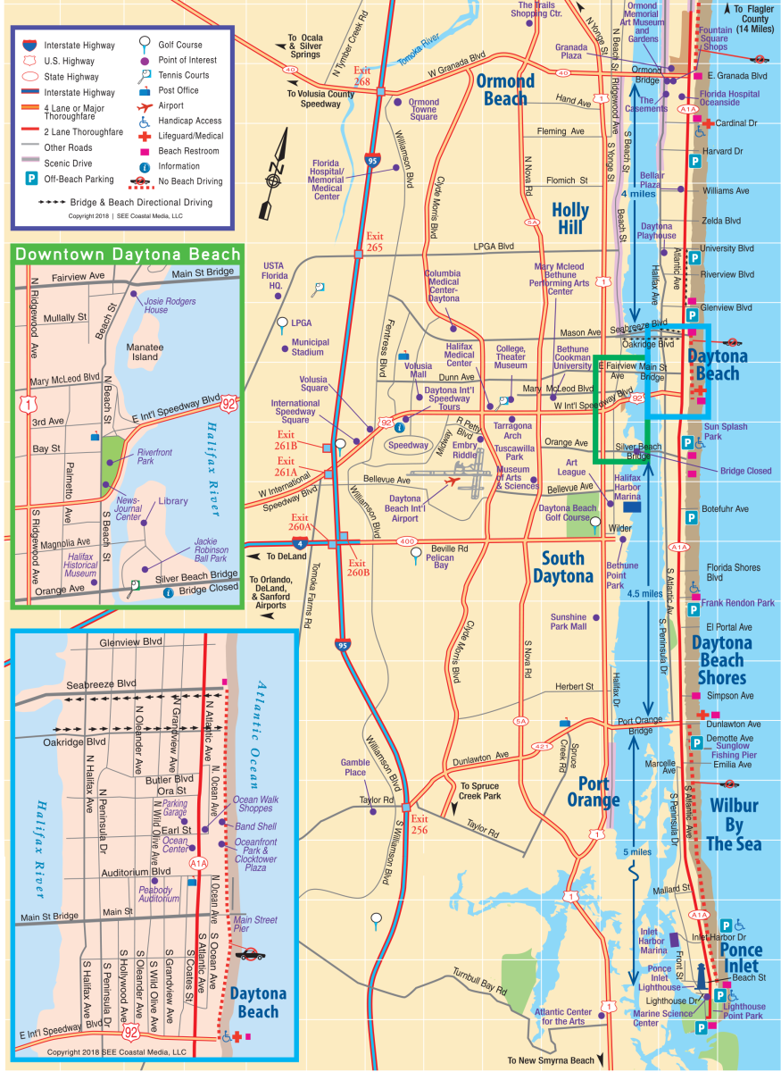 Daytona Beach Area Attractions Map Things To Do In Daytona