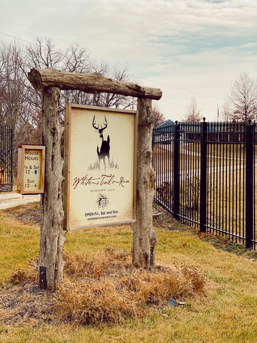 White Tail Run Winery Entrance Sign in Edgerton, KS