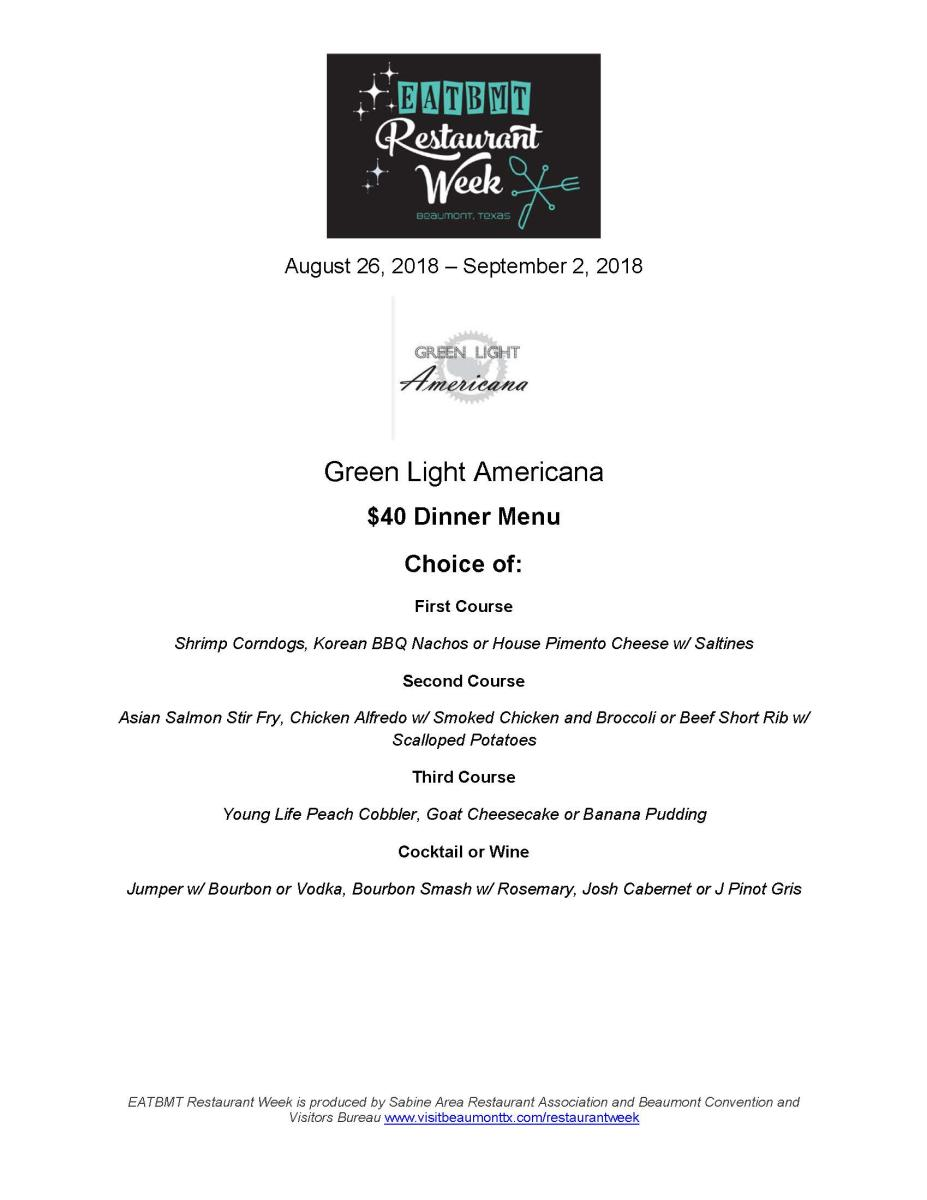 Restaurant Week Green Light Dinner Menu