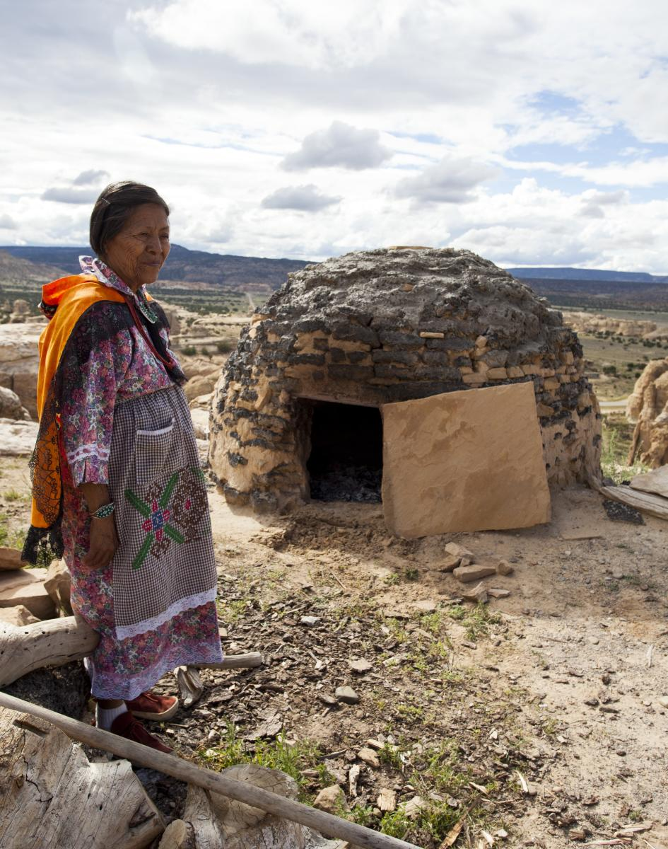 Acoma Woman with Horno Oven