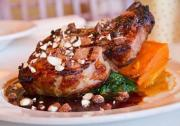 Josh Kroner's award-winning maple brined grilled pork chops with calvados demi-glace and maple-bacon almonds is featured on Terrapin's Hudson Valley Restaurant Week menu in Rhinebeck, NY