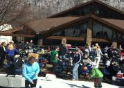 Skiers Taking a Break at the Bristol Mountain Sunset Lodge Patio