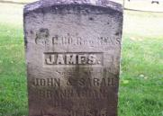 The gravestone of James Brannigan in the Post Cemetery at Fort Ontario.  Brannigan was a Union Army soldier who drowned in the Oswego River in 1865.