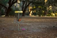 A disc golf hole at the Gascoigne Bluff Disc Golf Course on St. Simons Island in the Golden Isles of Georgia