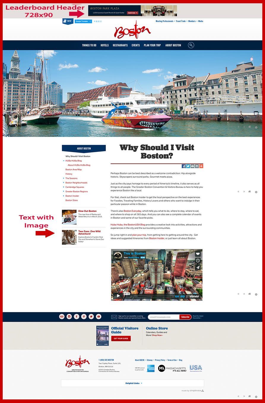 Responsive website advertising content page