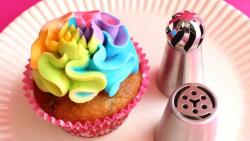 rainbow color cupcake and icing tips