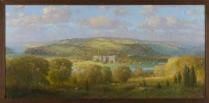 """Unknown artist, American School Beech Nut Factory on the Mohawk River, ca. 1920 Oil on canvas, 40"""" x 80"""" Arkell Museum at Canajoharie"""