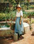 Josephine in the Garden, ca. 1890, Theodore Robinson (1852-1896), 32 1/4 x 26 1/8 in., Arkell Museum Collection, Gift of Bartlett Arkell, 1946