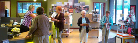 Guests shopping in the Fort Wayne Visitors Center