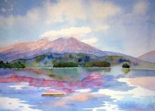 A Perfect Summer Day - Katahdin from Millinocket Lake-Painting by Evelyn Dunphy