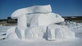 Snow sculptures at Churchill Aurora Winterfest in Manitoba