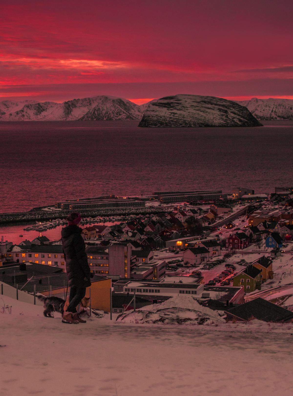 Red sky in Hammerfest prior the year's first sunrise