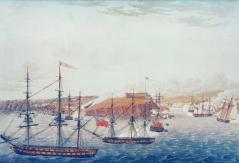 Battle of Oswego, May 6, 1814.  By William Steele.  Collection of the Public Archives of Canada.  This view depicts the British sailors climbing the bluff and ramparts of Fort Ontario while the British Marines, De Watteville Regiment, and Glengarry Light Infantry attack from the east.