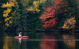 Viewing Adirondack foliage from the water