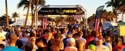 Crowd at the finish line for Dunn's Run in Deerfield Beach Florida