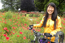Cycling in the Owen Memorial Rose Garden