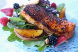 Recipe: Salty's Blackened Halibut with Caramelized Peaches and Organic Greens