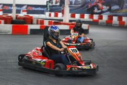 Racing go-karts at K1 Speed in Irvine, CA