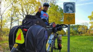 biker on the Genesee Valley Greenway trail