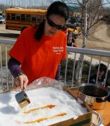 Maple Taffy at Manitoba Maple Syrup Festival in McCreary