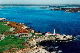 Maine Lighthouse view from the air