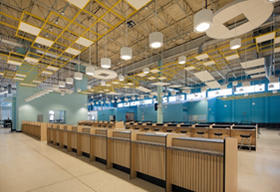Interior photo of Cruise Terminal 4 check-in counters