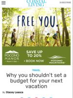 2017 Summer Marketing Campaign -  Online - Coastalliving.com.com - Pocono Manor Resort & Spa