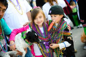 Kids at Mardi Gras Parade in Lake Charles. Credit Lindsey Janies