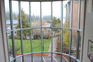 View from the atrium at Center for Meeting & Learning at Lane Community College