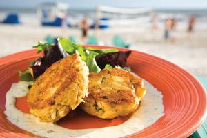 Crab cakes at Schooners