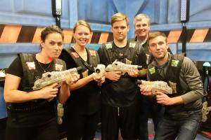 Knoblauchs play laser tag at Roseland Bowl Family Fun Center