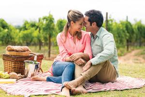 A couple enjoying a picnic in the vineyards.