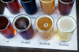 Microbrew beer flight