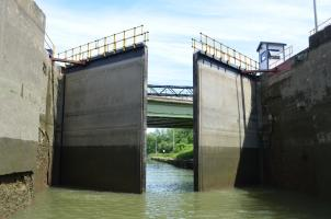 Lock doors opening on the Erie Canal in Rochester, NY