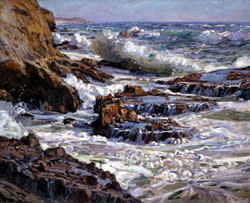 Painting of waves crashing on the rocky California coast.