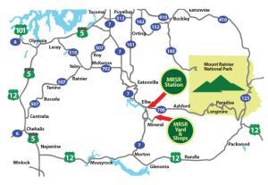 Ride the Santa Express Scenic Railroad around Mount Rainier